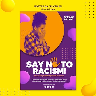 Say no to racism flyer print template