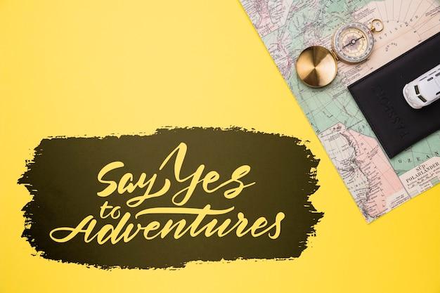 여행에 대한 글자, 모험에 예라고 말하십시오.