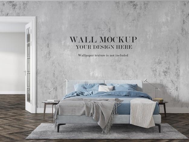 スカンジナビアの寝室の壁のモックアップ