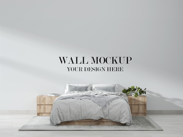 北欧の寝室の壁のモックアップ