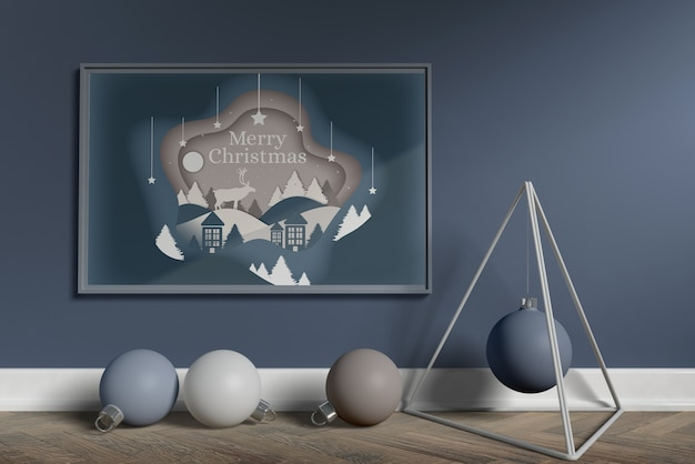 Scandinavian christmas decoration mock-up