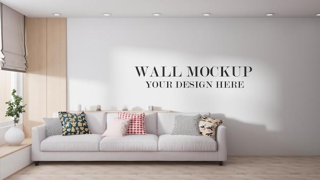 Scandinavian living room wall template in 3d rendering
