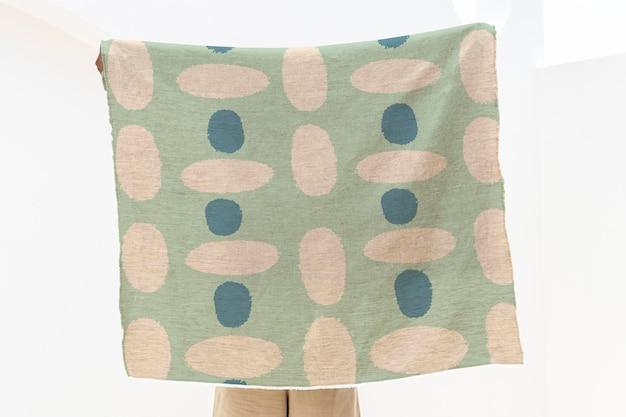 Psd макет шарфа, винтажный узор с принтом блоков