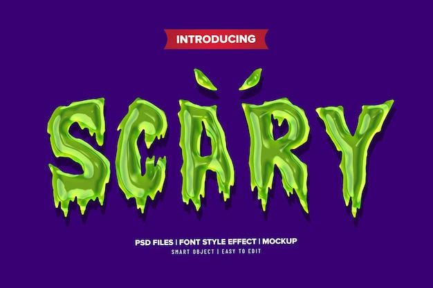 Scary cartoon text effect template