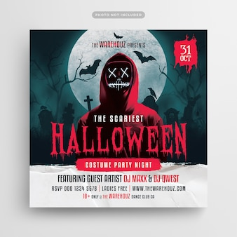 Scary halloween costume party flyer social media post and web banner