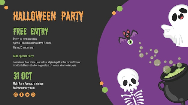 Scary halloween flyer with skeleton and ghost