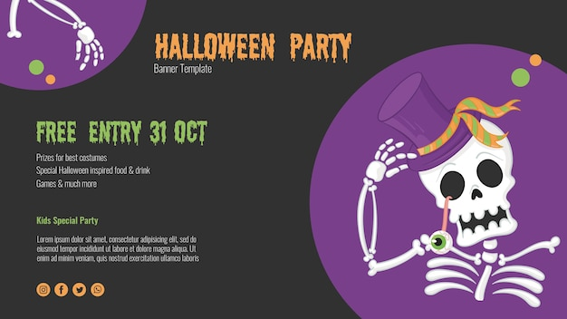 Scary halloween flyer with skeleton