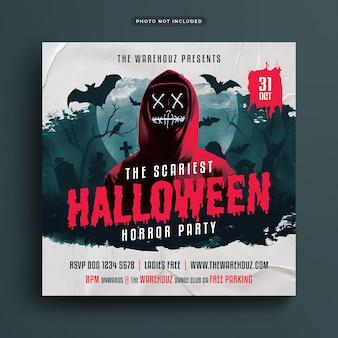 Scary halloween horror party flyer social media post and web banner