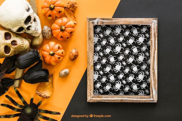 Scary halloween slate mockup