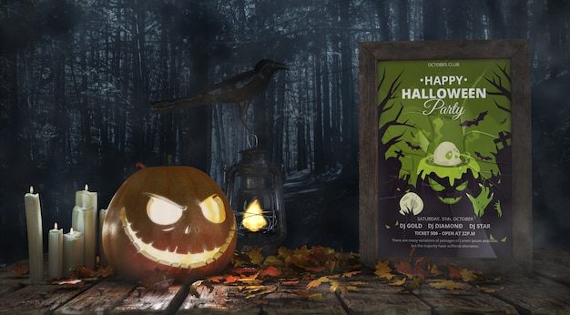 Scary pumpkin with horror movie poster