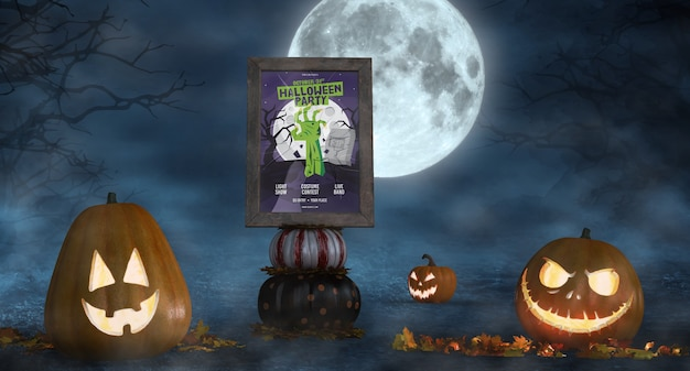 Scary pumpkins with horror movie poster mock-up