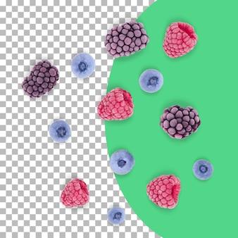 Разбросанные замороженные ягоды, изолированные на прозрачном