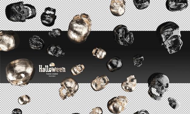 검은 금속 및 금 두개골 3d 할로윈 소품의 흩어져