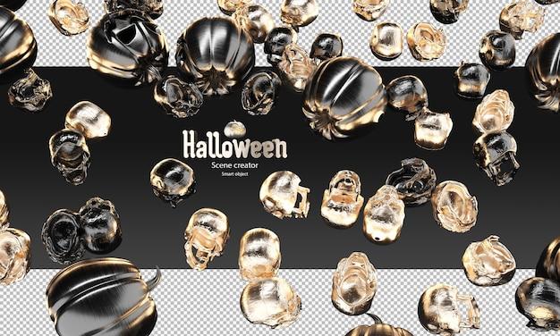 검은 금속 및 금 두개골과 으스스한 호박 3d 할로윈 소품이 흩어져 있습니다.