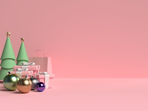 Scene of christmas podium with gift box and ball on pink background in 3d rendering
