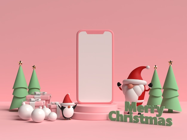 Scene of christmas podium with gift box and penguin in 3d rendering
