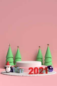 Scene of christmas podium with gift box and penguin on pink background in 3d rendering