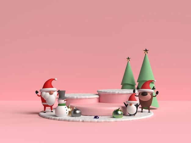 Scene of christmas podium with santa claus 3d rendering
