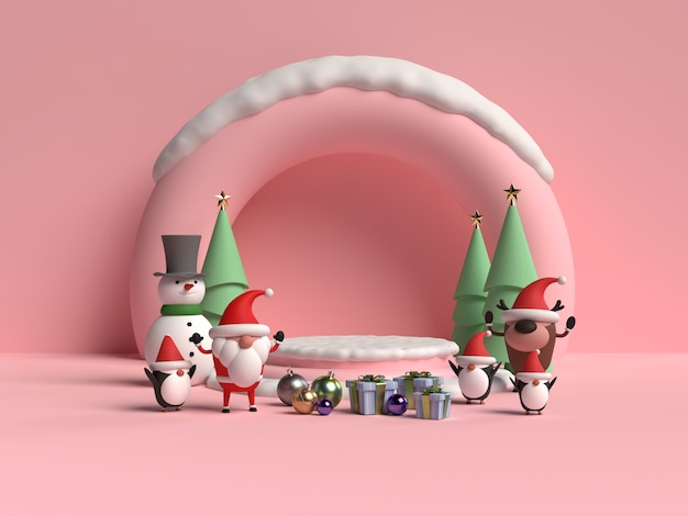 Scene of christmas podium with santa claus 3d rendering