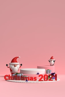 Scene of christmas podium with santa claus and friends on pink background in 3d rendering