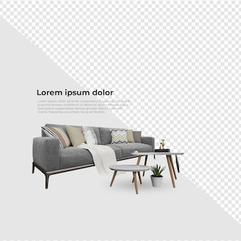 Scene creator aim chair sofa near table and potted plant decoration