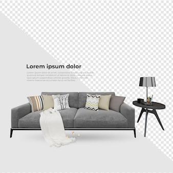 シーン クリエーター エイム チェア ソファ テーブルの近くに枕とランプの装飾