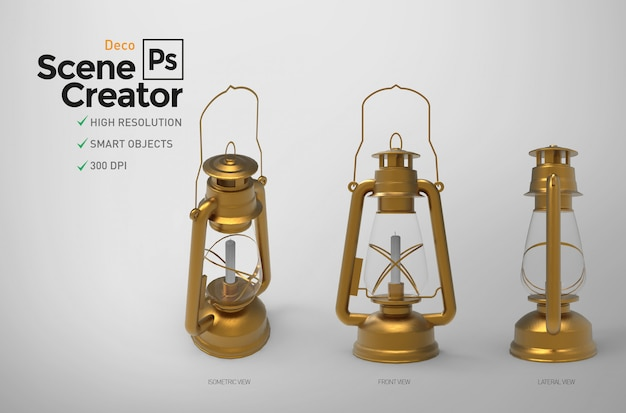 Scene creator. decorative antique golden lantern. separate elements.