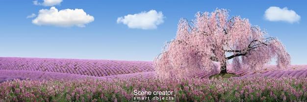 ラベンダー畑の古い桜の木のシーンクリエーター
