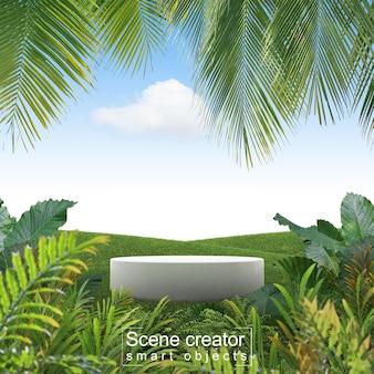 나무 전경과 잔디 필드에서 흰색 플랫폼의 장면 작성자