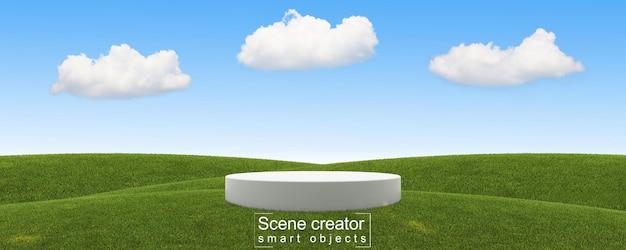 Создатель сцены белой платформы в травяном поле