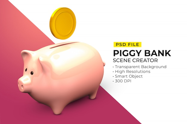 Scene creator of piggy bank with gold coin