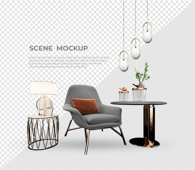 Scene creator sofa and lamp decoration design