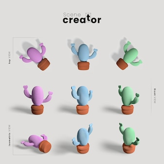 Scene creator with cactus collection