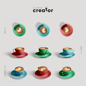 Creatore di scene con tazza di caffè