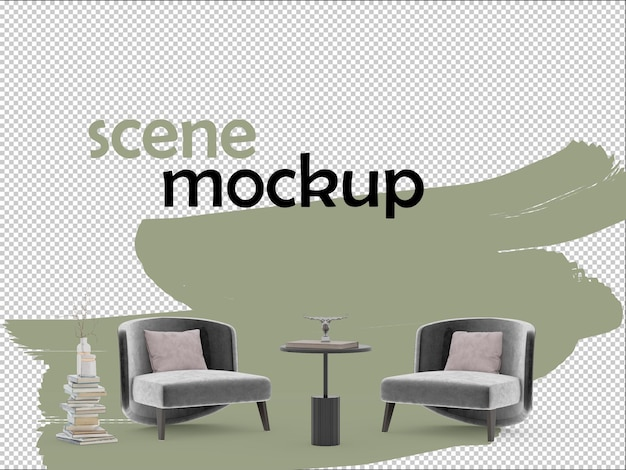 Scene mockup decorated with grey armchairs and books