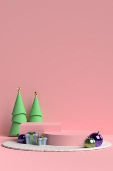 3dレンダリングでピンクの背景にギフトボックスとボールとクリスマスの表彰台のシーン