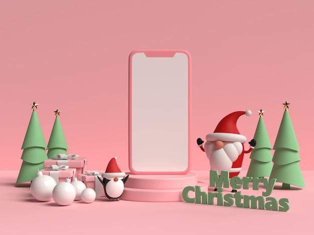 3d 렌더링에서 선물 상자와 펭귄 크리스마스 연단의 장면