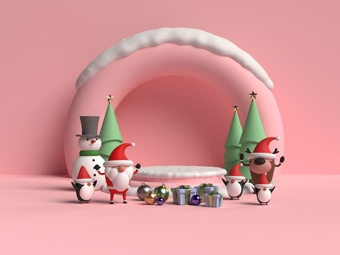 Сцена рождественского подиума с санта-клаусом 3d-рендеринга