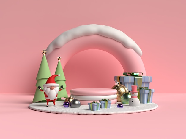 산타 클로스 3d 렌더링 크리스마스 연단의 현장
