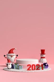 Сцена рождественского подиума с санта-клаусом и друзьями на розовом фоне в 3d-рендеринге