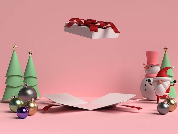 산타 클로스와 3d 렌더링에서 열린 선물 상자 크리스마스 연단의 장면