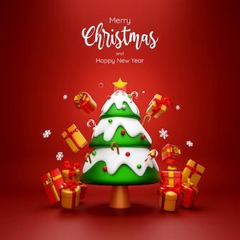 빨간색 배경 3d 그림에 크리스마스 트리와 선물 상자의 장면