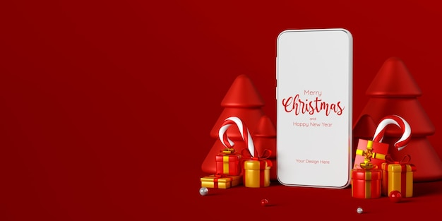 온라인 광고 3d 그림 쇼핑을 위한 크리스마스 선물이 있는 스마트폰 장면
