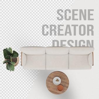 Создатель сцен направляет стул диван рядом с горшечным растением и украшением лампы
