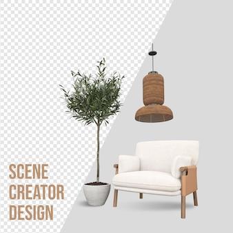 Создатель сцены прицеливается к дивану с креслом рядом с горшечным растением и украшением лампы
