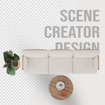 Scenes creator aim chair sofa near potted plant and lamp decoration
