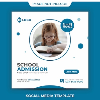 School admission academy social media post template