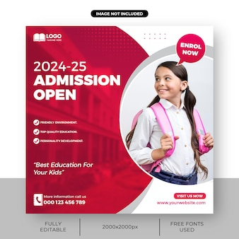 School admission banner or square admissions open social media post template