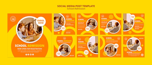 School admission concept social media post template