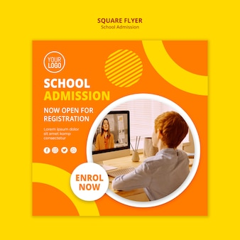 School admission concept square flyer template